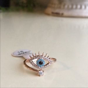 Rose gold Hamsa evil eye adjustable midi ring NWT